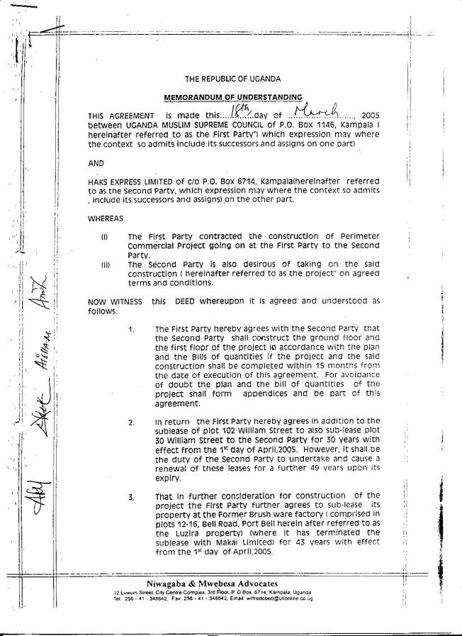 William Street Lease Documents For Which The Mufti Mubajje Has