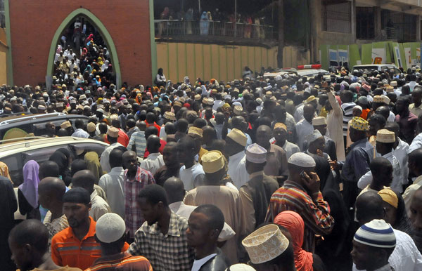 Some of the people who attended Sheik Abdukarim Sentamu's funeral prayers at Nakasero mosque.