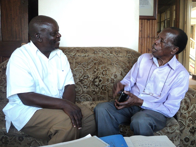 Dr. Buwule Kasasa (R) being interviewed by Haji Nsereko Mutumba (L) at Top Hill Hotel Mengo