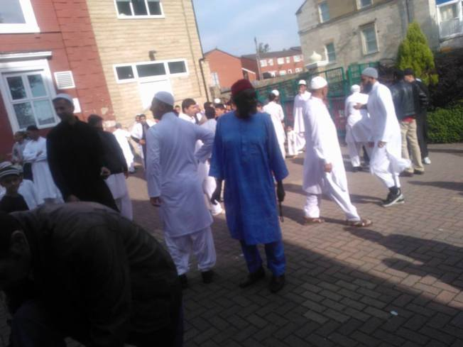 Muslims outside one of the mosques in Leeds-UK after Idil Fitri this year