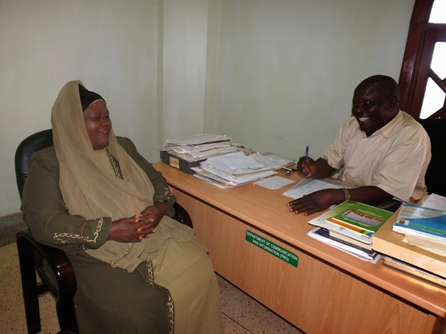 Dr.Mastula in Hajji Mutumba's office at UMSC
